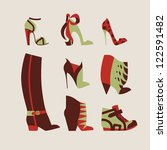 collection of woman shoes for day and evening vector illustration eps 10 - stock vector