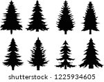 christmas trees. set of fir... | Shutterstock .eps vector #1225934605