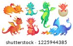Stock vector dragon kids fantasy baby dragons funny fairytale reptile and medieval legends fire breathing 1225944385
