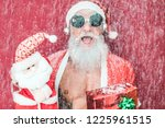 tattoo happy santa clause with... | Shutterstock . vector #1225961515