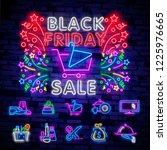 big set neon billboard  theme... | Shutterstock .eps vector #1225976665