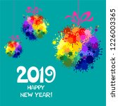 2019 happy new year greeting... | Shutterstock . vector #1226003365