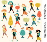children with backpacks going... | Shutterstock .eps vector #122602096