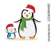 winter fun. mother penguin and... | Shutterstock .eps vector #1226084485