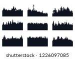 evergreen forest silhoettes   Shutterstock .eps vector #1226097085