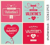 happy valentines day cards with ... | Shutterstock .eps vector #122611915