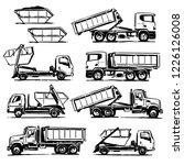 hook lift trucks set. hand... | Shutterstock .eps vector #1226126008