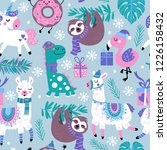 Stock vector seamless pattern for christmas holiday with animals childish background for fabric wrapping paper 1226158432