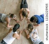 group of five  5  women at... | Shutterstock . vector #1226225905