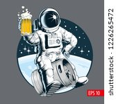 astronaut sits on a beer keg... | Shutterstock .eps vector #1226265472