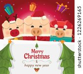 piggy three with big signboard  ...   Shutterstock .eps vector #1226269165