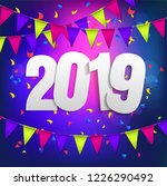 happy new year 2019 violet... | Shutterstock .eps vector #1226290492