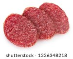 salami smoked sausage slices... | Shutterstock . vector #1226348218
