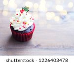 Close Up Cupcake With Christma...