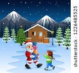cartoon santa claus holding a... | Shutterstock . vector #1226485525