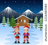 couple santa claus holding a... | Shutterstock .eps vector #1226485585