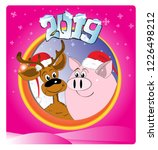 deer and pig. new year's design.... | Shutterstock .eps vector #1226498212
