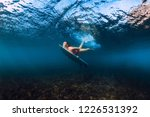 sporty surfer woman dive... | Shutterstock . vector #1226531392