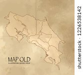 old costa rica map with vintage ... | Shutterstock .eps vector #1226538142