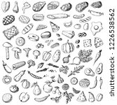 hand drawn big set of food.... | Shutterstock .eps vector #1226538562