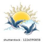 two flying swallow birds... | Shutterstock .eps vector #1226590858