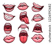 set of cartoon mouths isolated... | Shutterstock .eps vector #1226592682