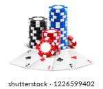 playing cards near stack of... | Shutterstock .eps vector #1226599402