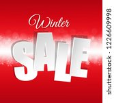 red sale poster with snowflakes ... | Shutterstock .eps vector #1226609998