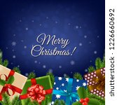 christmas retro card  | Shutterstock . vector #1226660692