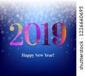 2019 blue new year postcard  | Shutterstock . vector #1226660695