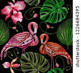 embroidery flamingo  palm tree... | Shutterstock .eps vector #1226684395