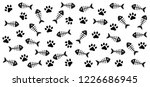 cat paw with fish bone vector... | Shutterstock .eps vector #1226686945