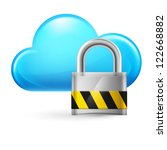 Cloud computing and padlock. Illustration on white - stock vector