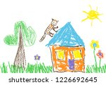 like child s hand drawn house ... | Shutterstock .eps vector #1226692645