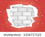 christmas snowfall and torn red ... | Shutterstock .eps vector #1226717122