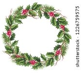 round christmas wreath with... | Shutterstock . vector #1226759575