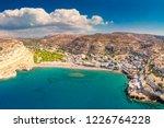 Matala Beach On Crete Island...