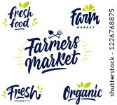farmers market fresh food and...   Shutterstock .eps vector #1226768875