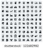vector black 100 web icons set... | Shutterstock .eps vector #122682982