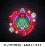 neon sign of 'merry christmas'...   Shutterstock .eps vector #1226847655