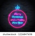neon sign of 'merry christmas... | Shutterstock .eps vector #1226847658