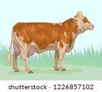 fleckvieh yellow piebald cow | Shutterstock .eps vector #1226857102