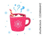 winter hot drink. red cup of... | Shutterstock . vector #1226866642