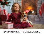 little girl child celebrates... | Shutterstock . vector #1226890552