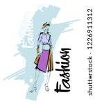 fashion girl sketch. stylish... | Shutterstock .eps vector #1226911312