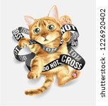 cat entangled in do not cross... | Shutterstock .eps vector #1226920402