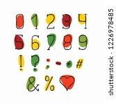 alphabet retro design. numbers... | Shutterstock .eps vector #1226978485