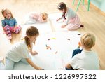top view of cute kids drawing... | Shutterstock . vector #1226997322
