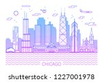 chicago city line art vector... | Shutterstock .eps vector #1227001978