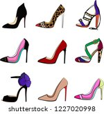 High Fashion Heel Shoes Vector...
